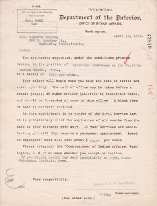 Appointment of Minerva Shultz as Assistant Laundress
