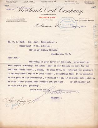 Contracts for Supplies, Fiscal Year 1910-1911