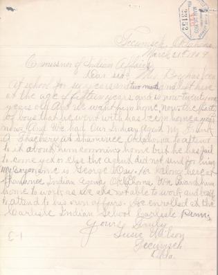 Request for Return Home of George Day