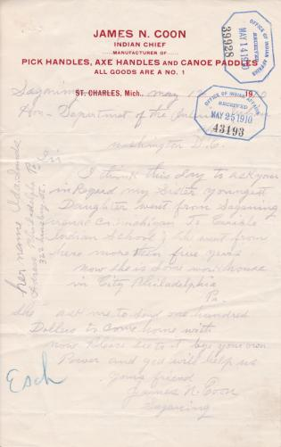 Request for Return Home of Ida Coon Sands