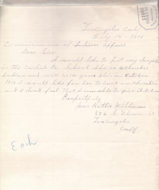Request for Enrollment of Daughter of Hattie Williams