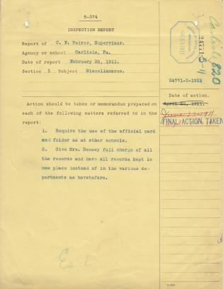 Inspection Report on Record Keeping at the Carlisle Indian School