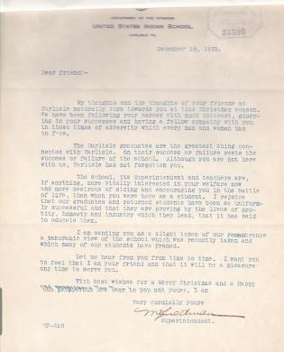 Draft of 1910 Christmas Letter from Superintendent