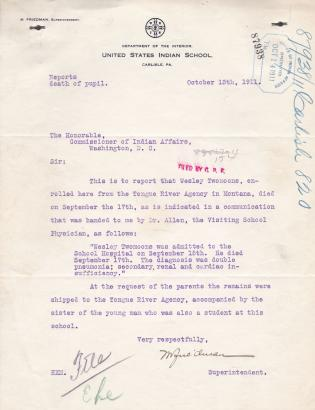 Notice of Death of Wesley Two Moons