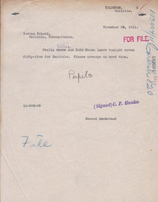 Notice of Arrival of Stella Ellis and Ruth Moore
