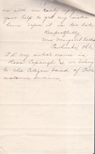 Request for Return Home of Rose Copaugh