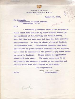 Request for Enrollment of Nora and Jerome Slattery