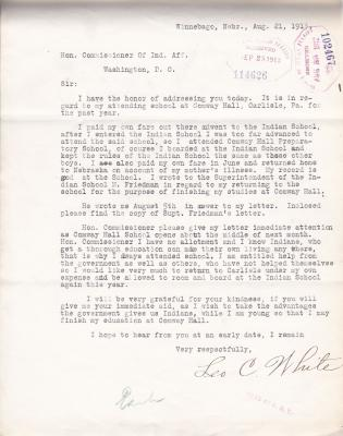 Request by Leo C. White to Attend Conway Hall
