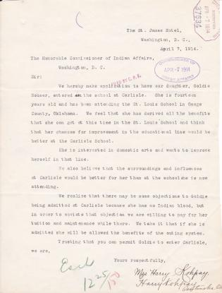 Requests by Harry Kohpay Regarding His Daughters