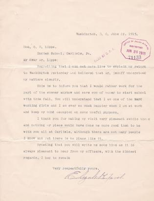 Correspondence Regarding Enrollment of Elizabeth Fish