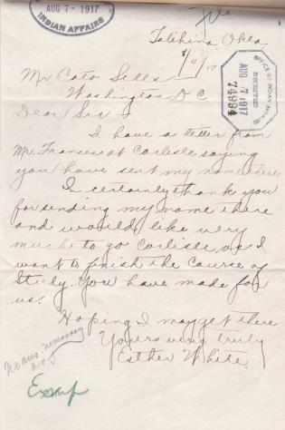Esther White Request to Enter Carlisle