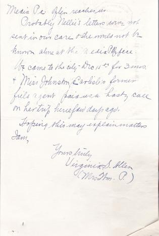 Unclaimed Letters Sent to Nellie Thompson