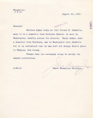 Correspondence Regarding Jerome Cadotte and Henry Ankle