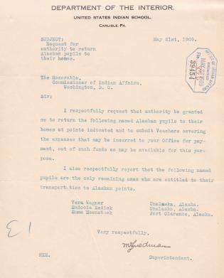 Request to Return Alaskan Students in May 1909