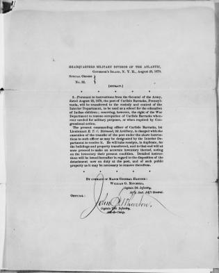Special Order for the Transfer of Carlisle Barracks to the Interior Department