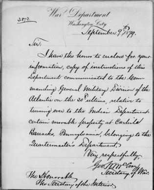 """Order to Transfer all """"Movable Property"""" at Carlisle Barracks to the Bureau of Indian Affairs"""