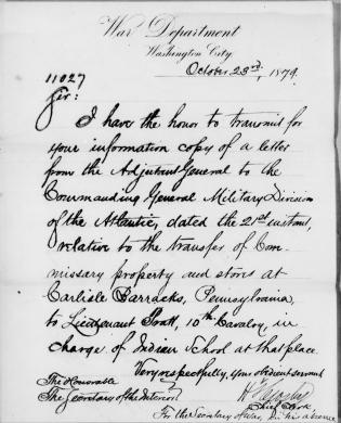 Transfer of Commissary Property and Stores to the Interior Department