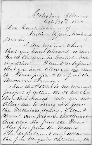Process of Securing Southwestern Indian Students for the Carlisle Indian School