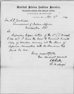 Voucher Covering A. J. Standing's Expenses