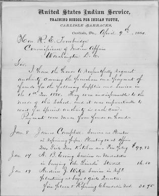 Request to Cover Indispensable Expenses, First Quarter 1880