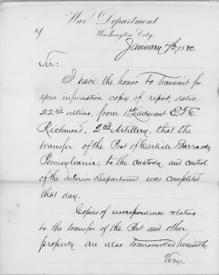 Documents Relating to the Transfer of the Carlisle Barracks to the Interior Department