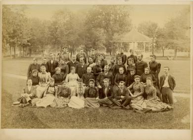 T.J. Morgan, Commissioner of Indian Affairs, with Richard Henry Pratt and teachers [pose 1], c.1890