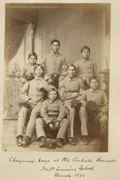 Seven male Cheyenne students [version 2], 1880