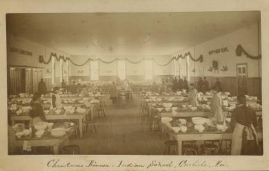Dining room decorated for Christmas, c.1881