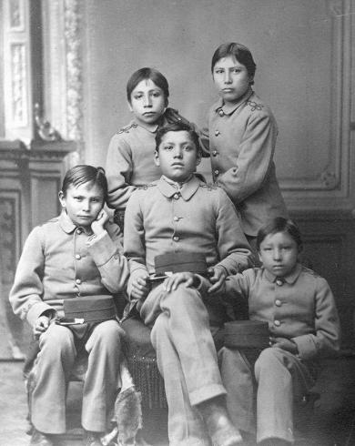 Five male Sioux students, 1880