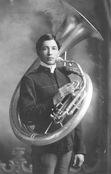 William Jollie with sousaphone, c.1903