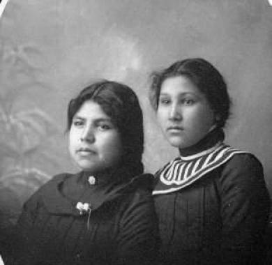 Mamie Down and an unidentified young woman, c.1904