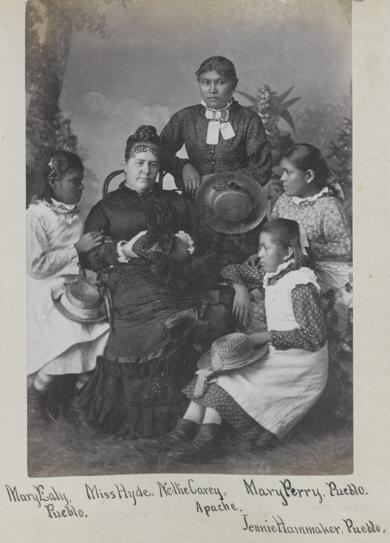 Mary Ealy, Nellie Carey, Mary Perry, and Jennie Hammaker with teacher Mary Hyde [version 2], c.1881