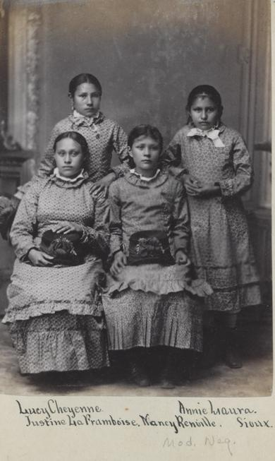 Lucy Black Shortnose, Anna Laura, Justine La Framboise, and Nancy Renville [version 2], c.1880