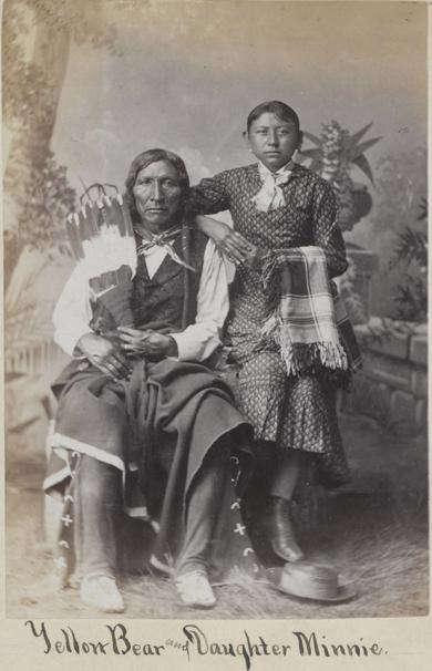 Yellow Bear and his daughter, Minnie Yellow Bear [version 2], c.1881
