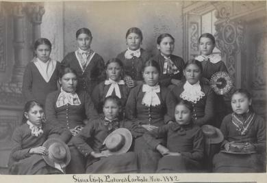 Thirteen female Sioux students [version 2], c.1883