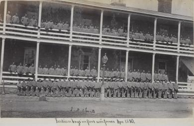 Male students posed on the balconies of their quarters [version 2], 1880
