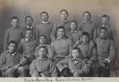 Fifteen Sioux male students [version 2], c.1883