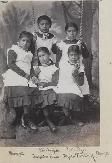 Five young female Osage students [version 2], c.1882