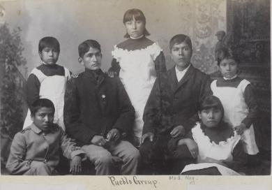 Seven Pueblo students [version 2], c.1884