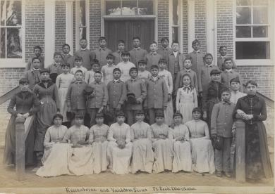Assiniboine and Sioux students [version 2], c.1890