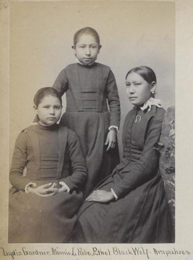 Lydia Gardner, Nannie Little Robe, and Ethel Black Wolf [version 2], c.1890