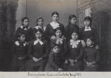 Eleven female Omaha students [version 2], c.1882