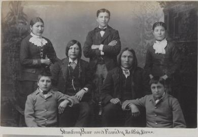 Standing Bear, Red Fish and five students [version 2], c.1884
