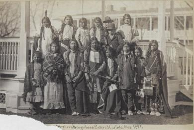 Northern Arapaho and Shoshone students upon arrival [version 1], 1881