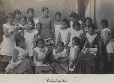 Seventeen female Pueblo students [version 2], c. 1885