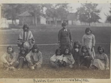 Eleven students upon arrival, 1880