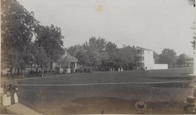 School grounds with band stand, c.1885