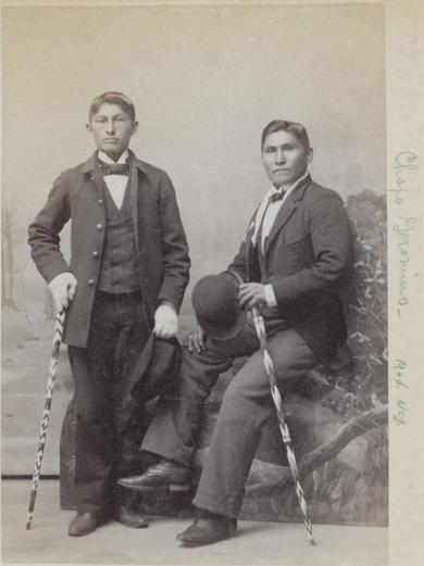 Chapo Geronimo and an unidentified young man, c.1890
