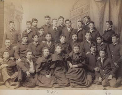 Group of male and female student printers [version 2], c.1894