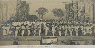 """Male and female student cast of """"The Captain of Plymouth"""", 1909"""